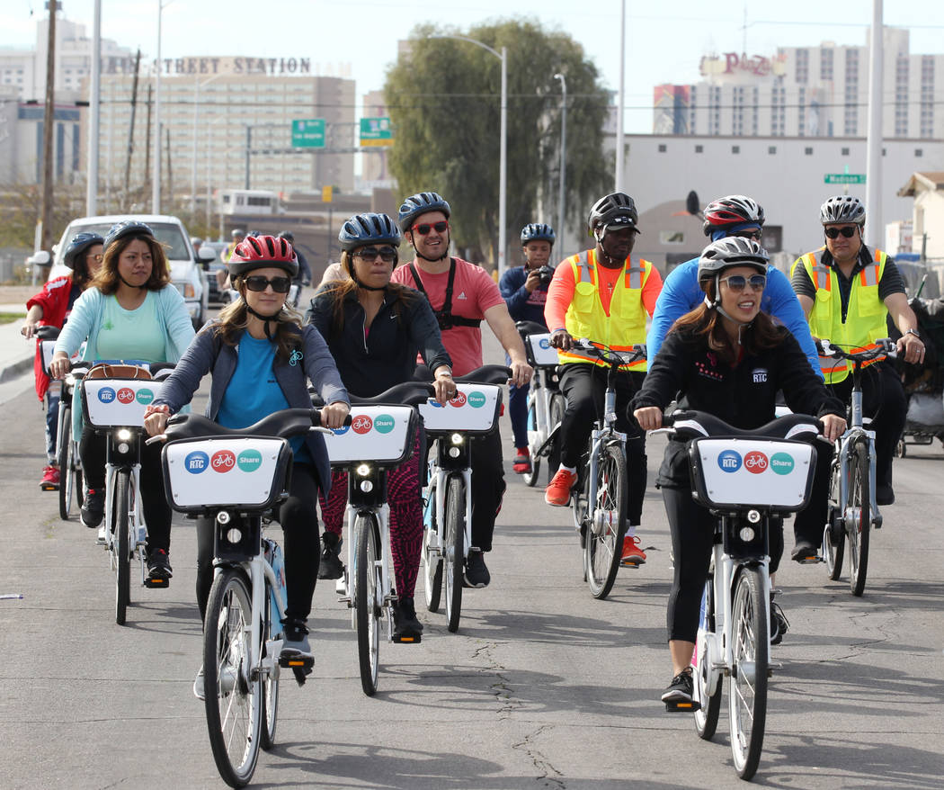 Cyclists on C Street Monday, March 12, 2018, during a bike ride through historic West Las Vegas. The ride, which included students from Liberty High School and officials from the Regional Transpor ...