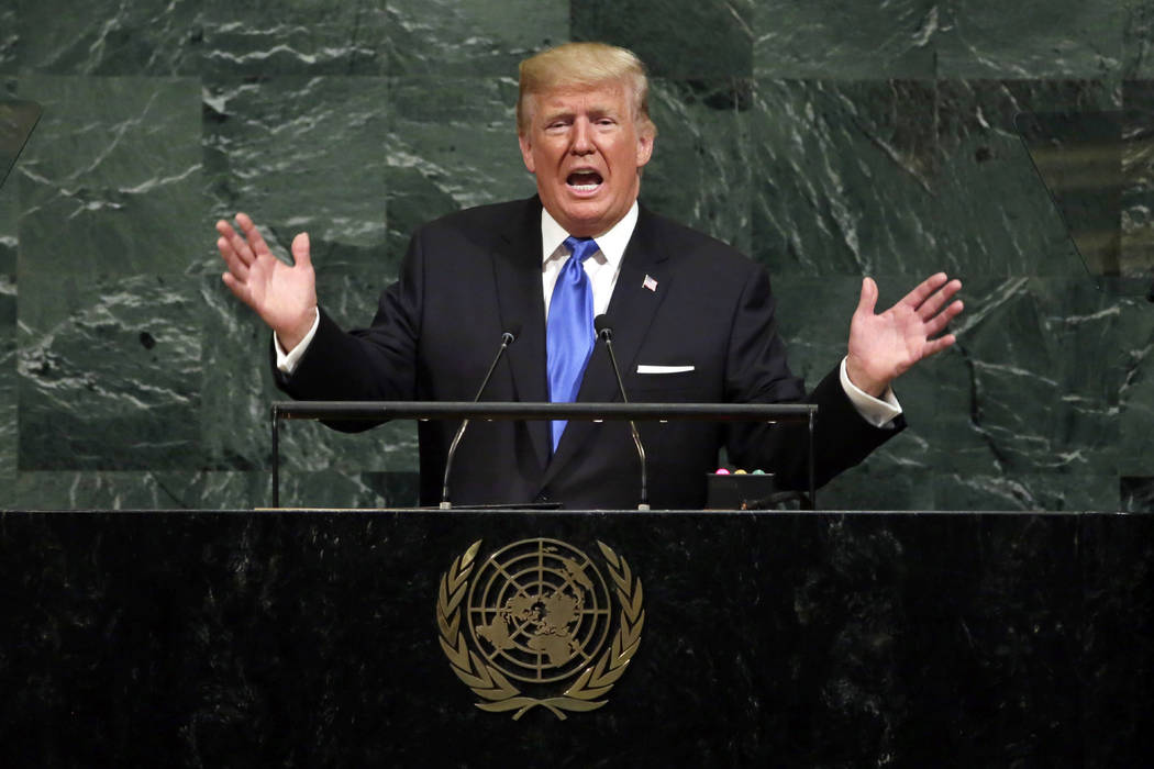 President Donald Trump addresses the 72nd session of the United Nations General Assembly, at U.N. headquarters, Sept. 19, 2017.  (AP Photo/Richard Drew, File)
