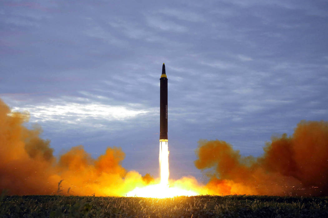 The North Korean government shows what was said to be the test launch of a Hwasong-12 intermediate range missile in Pyongyang, North Korea, Aug. 29, 2017, file photo distributed on Aug. 30, 2017.  ...