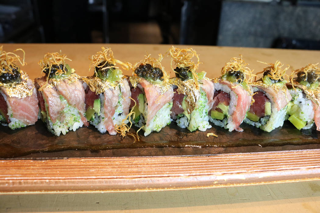 Zuma's Taro Maki roll is topped with gold leaf. Janna Karel Las Vegas Review-Journal
