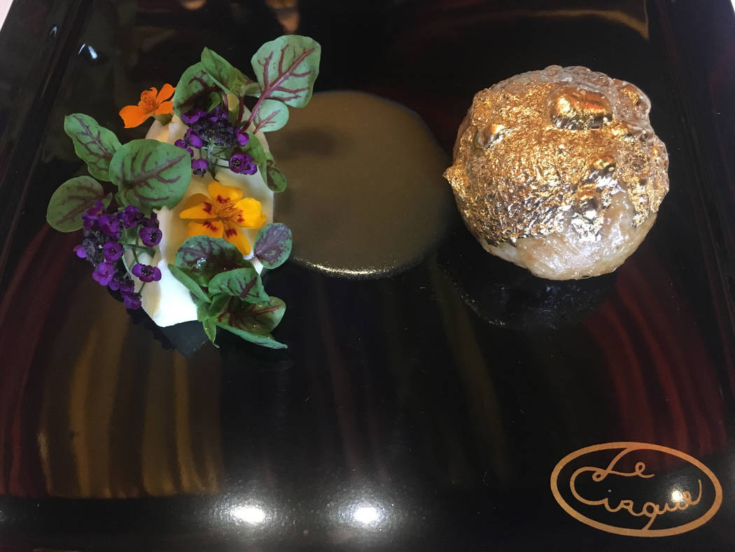 La Cirque's gold-crusted quail and foei gras is covered in gold leaf and served with potato puree. Janna Karel Las Vegas Review-Journal