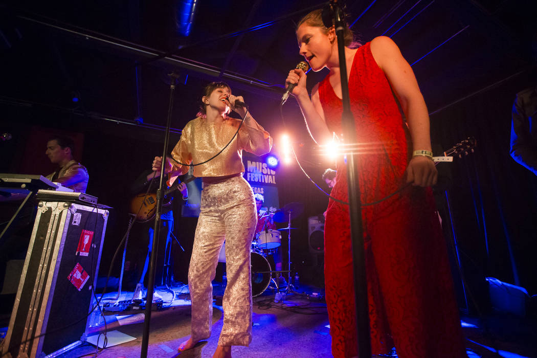 Meg Remy, left, and Kassie Richardson of U.S. Girls perform at Bunkhouse Saloon during the second night of the Neon Reverb music festival in downtown Las Vegas on Saturday, March 10, 2018. Chase S ...