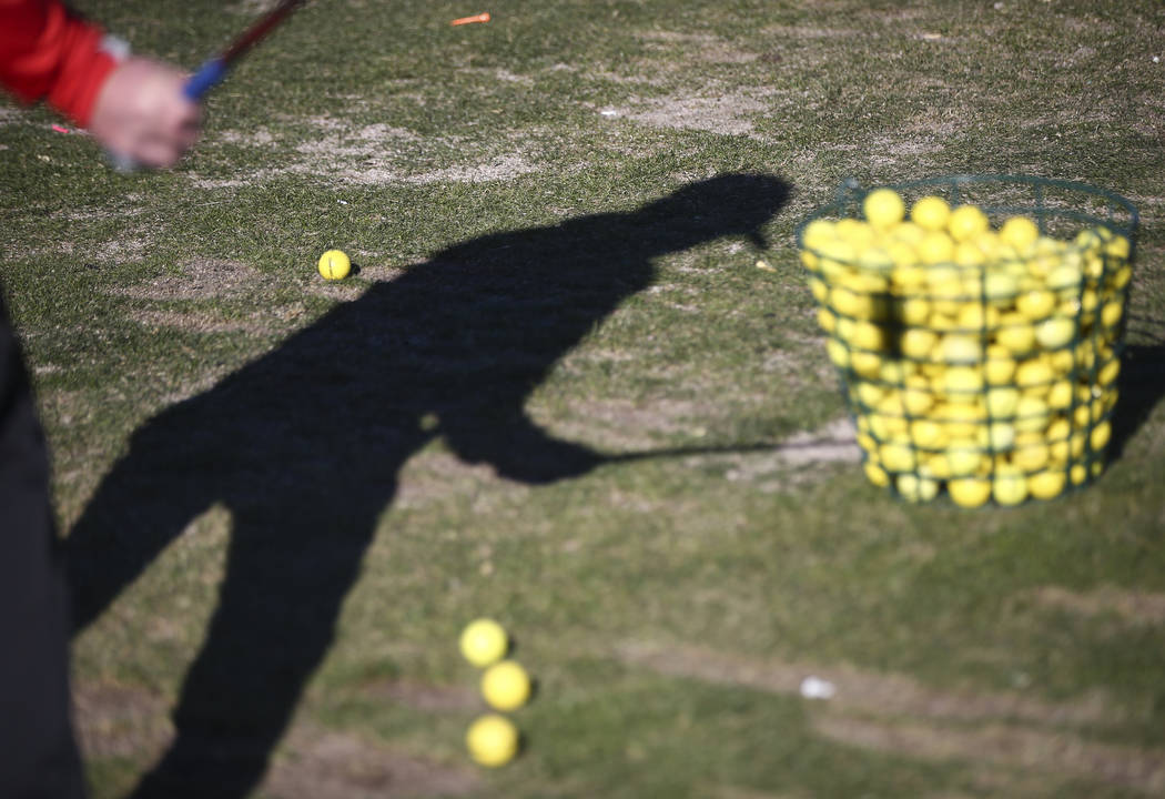 Arbor View's Cameron Gambini at the driving range during practice at the Paiute Golf Resort in Las Vegas on Tuesday, March 6, 2018. Chase Stevens Las Vegas Review-Journal @csstevensphoto