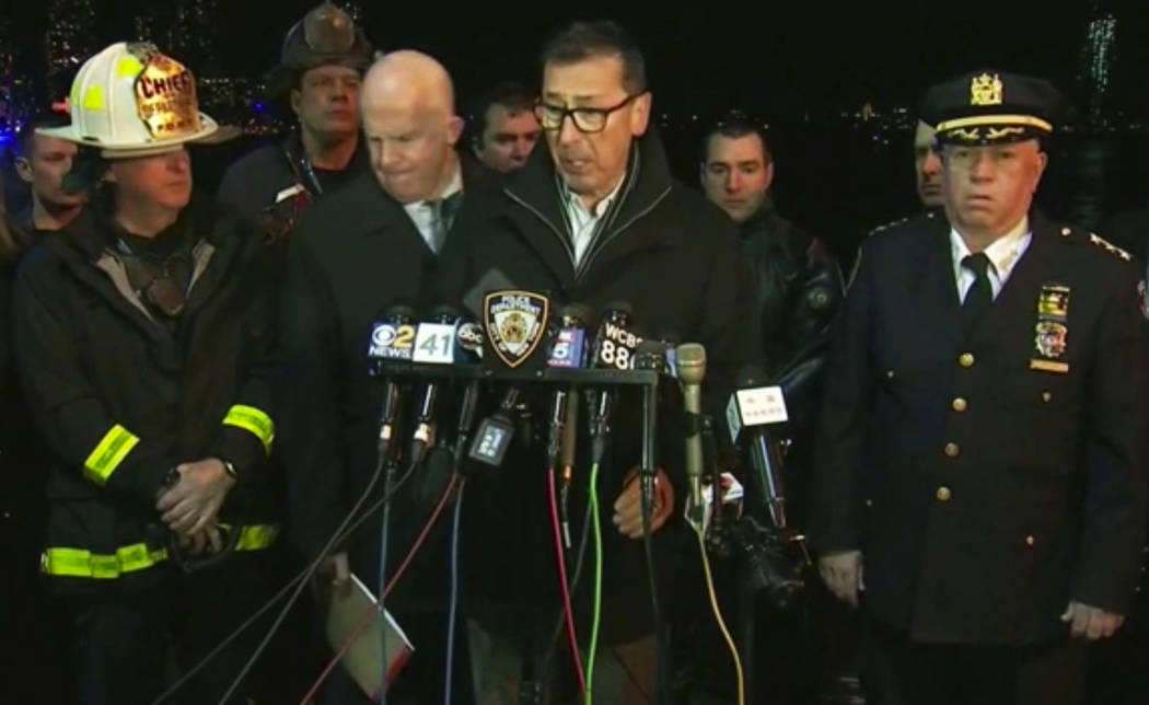 In this image made from video provided by WNYW, New York City Fire Department Commissioner Daniel Nigro speaks during a press conference a deadly helicopter crash in New York on Sunday, March 11,  ...