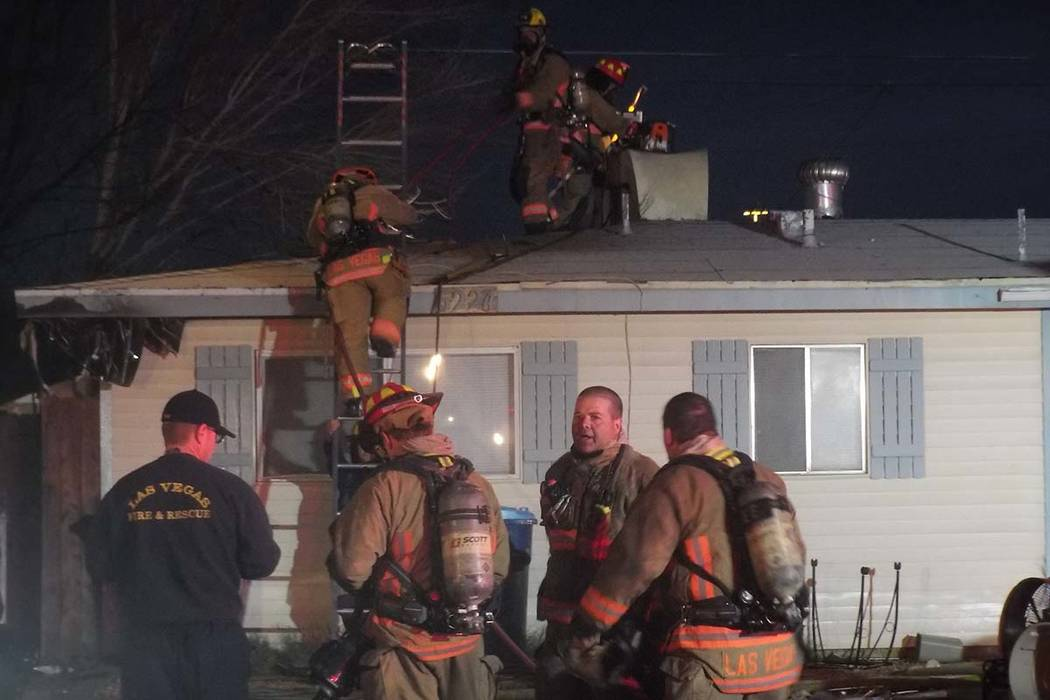 Las Vegas firefighters quickly put out a Monday morning fire at at 6228 Fairwood Ave., near Jones Boulevard and U.S. Highway 95. (Mas Michor/Las Vegas Review-Journal)