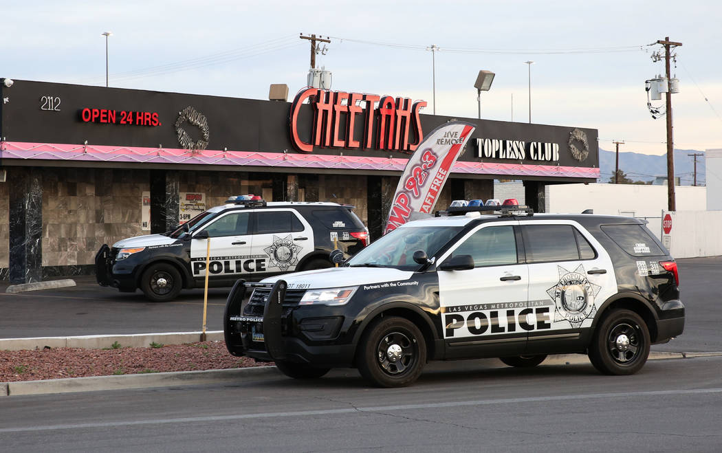 Las Vegas Police are investigating after a shooting in the parking lot of Cheetahs gentlemen's club, 2112 Western Ave., Monday, March 12, 2018, in Las Vegas. Bizuayehu Tesfaye/Las Vegas Review-Jou ...