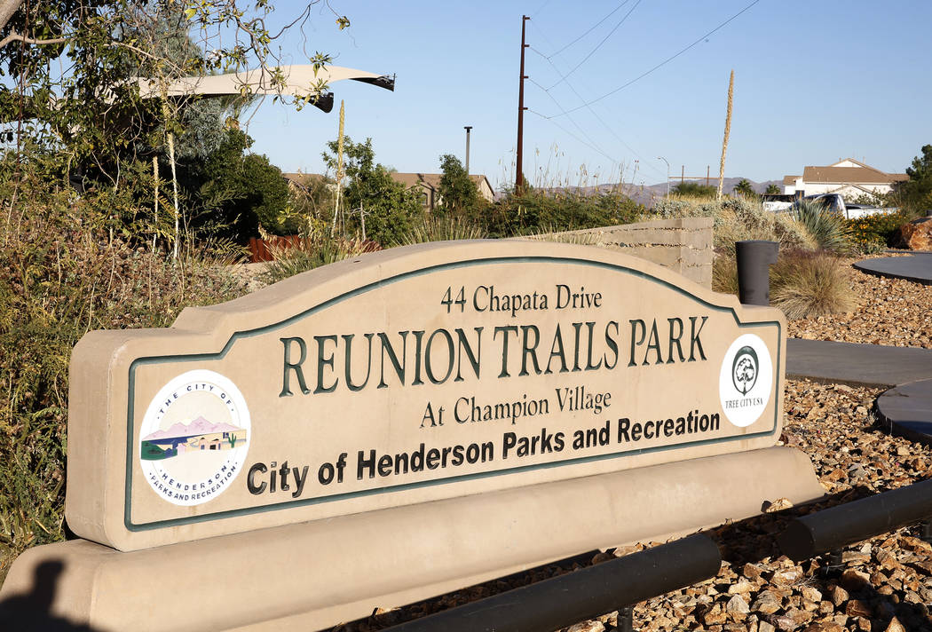 Reunion Trails Park Thursday, Oct. 26, 2017, in Henderson. The city of Henderson and the Clark County District are disagreeing over a new proposed school near the park. (Bizuayehu Tesfaye/Las Vega ...