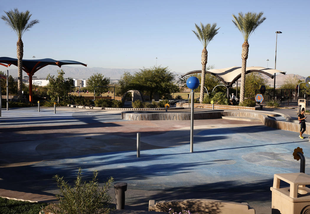 The water park at Reunion Trails Park Thursday, Oct. 26, 2017, in Henderson. The city of Henderson and the Clark County District are disagreeing over a new proposed school near the park. (Bizuayeh ...