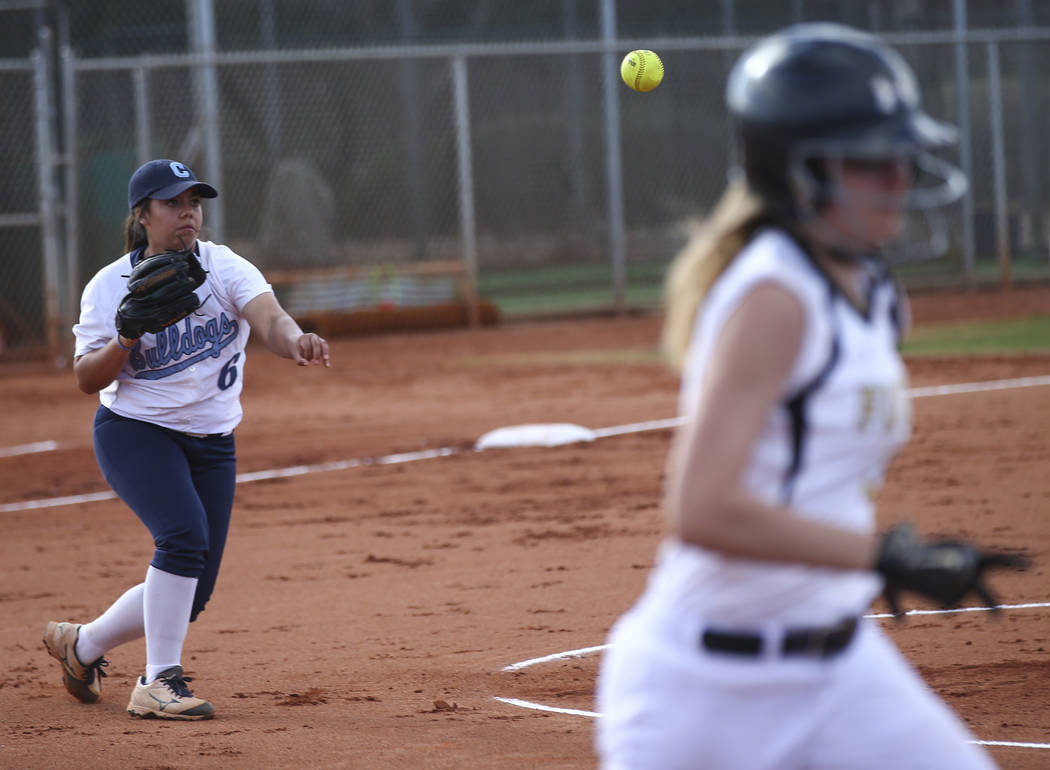 Centennial pitcher Deanna Barrera (6) throws to first base get out Faith Lutheran's Ellie Fried, right, during a softball game at Faith Lutheran in Las Vegas on Tuesday, March 13, 2018. Centennial ...