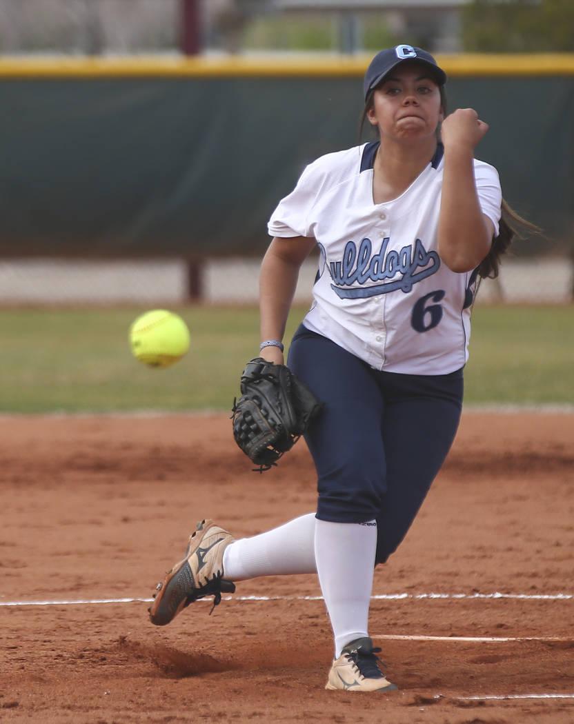 Centennial's Deanna Barrera (6) pitches to Faith Lutheran during a softball game at Faith Lutheran in Las Vegas on Tuesday, March 13, 2018. Centennial won 14-1. Chase Stevens Las Vegas Review-Jour ...