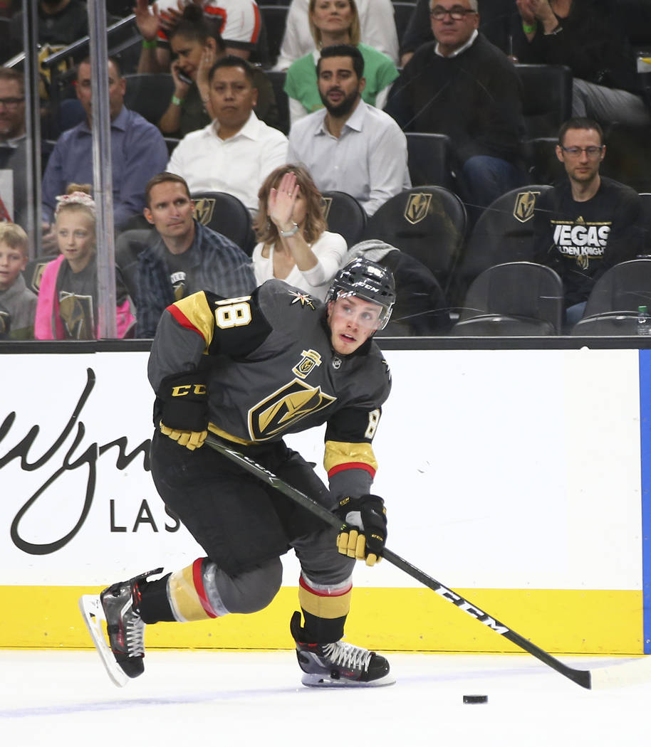 Golden Knights defenseman Nate Schmidt (88) guides the puck while playing the New Jersey Devils during the first period of an NHL hockey game at T-Mobile Arena in Las Vegas on Wednesday, March 14, ...