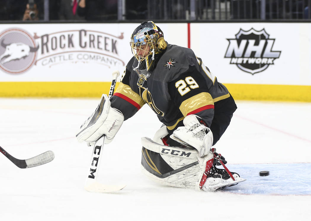 New Jersey Devils right wing Stefan Noesen, not pictured, gets the puck past Golden Knights goaltender Marc-Andre Fleury (29) to score during the second period of an NHL hockey game at T-Mobile Ar ...