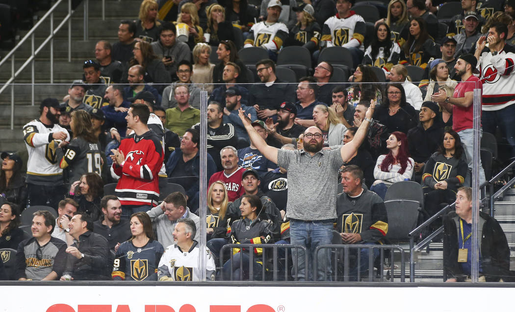 Golden Knights fans react as the team falls behind the New Jersey Devils during the third period of an NHL hockey game at T-Mobile Arena in Las Vegas on Wednesday, March 14, 2018. The New Jersey D ...