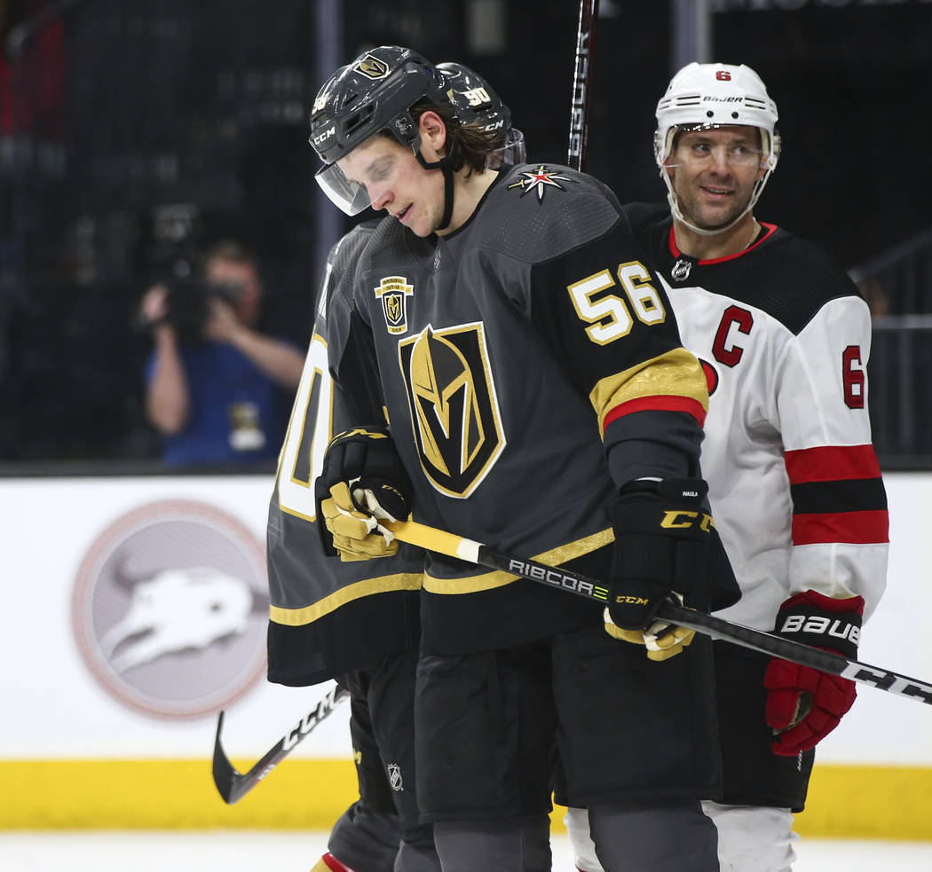 Golden Knights left wing Erik Haula (56) reacts as the New Jersey Devils maintain a dominant lead during the third period of an NHL hockey game at T-Mobile Arena in Las Vegas on Wednesday, March 1 ...