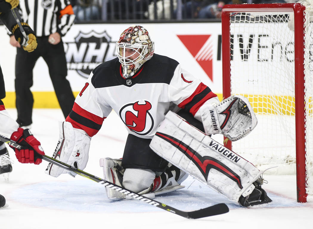 New Jersey Devils goaltender Keith Kinkaid (1) defends the goal after losing his stick during the third period of an NHL hockey game against the Golden Knights at T-Mobile Arena in Las Vegas on We ...
