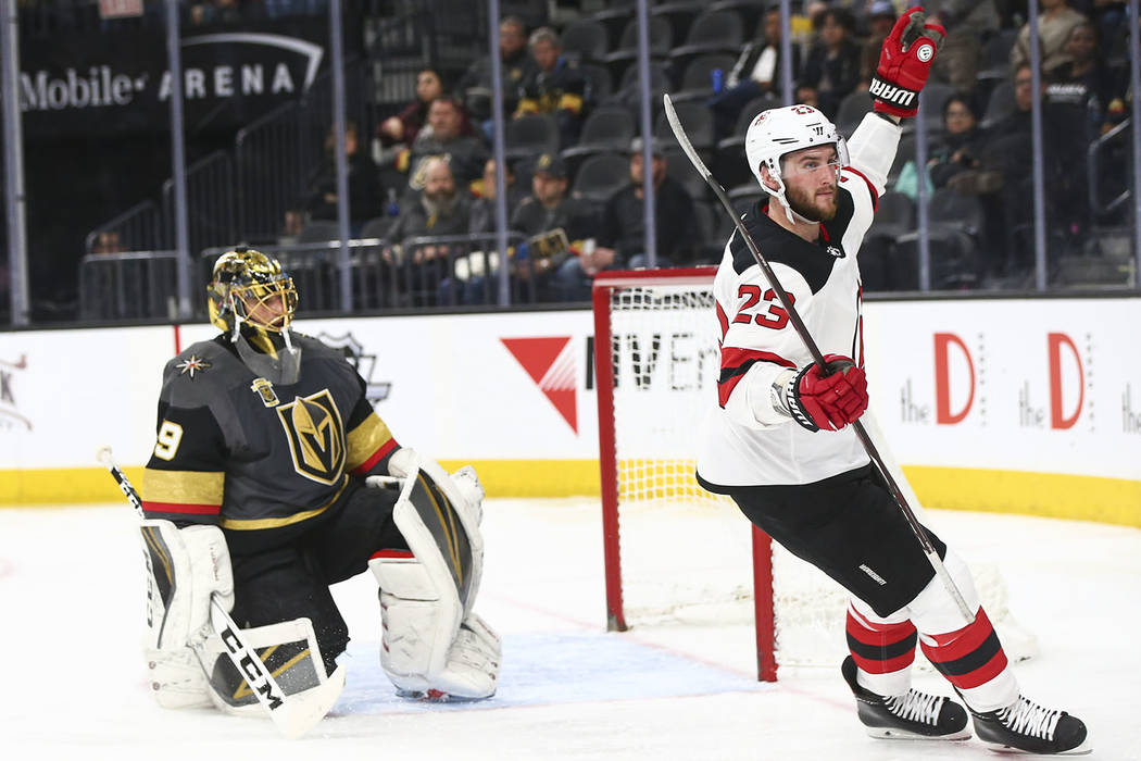 New Jersey Devils right wing Stefan Noesen (23) celebrates his goal against Golden Knights goaltender Marc-Andre Fleury (29) during the second period of an NHL hockey game at T-Mobile Arena in Las ...