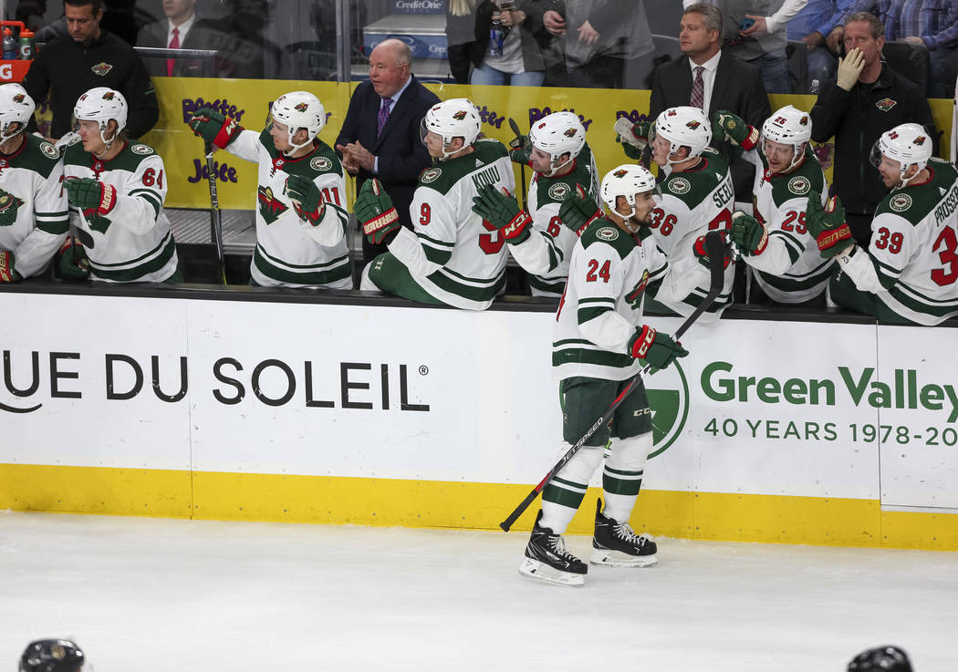 Minnesota Wild defenseman Matt Dumba (24) celebrates with teammates after scoring against the Vegas Golden Knights during the second period of an NHL hockey game at the T-Mobile Arena in Las Vegas ...