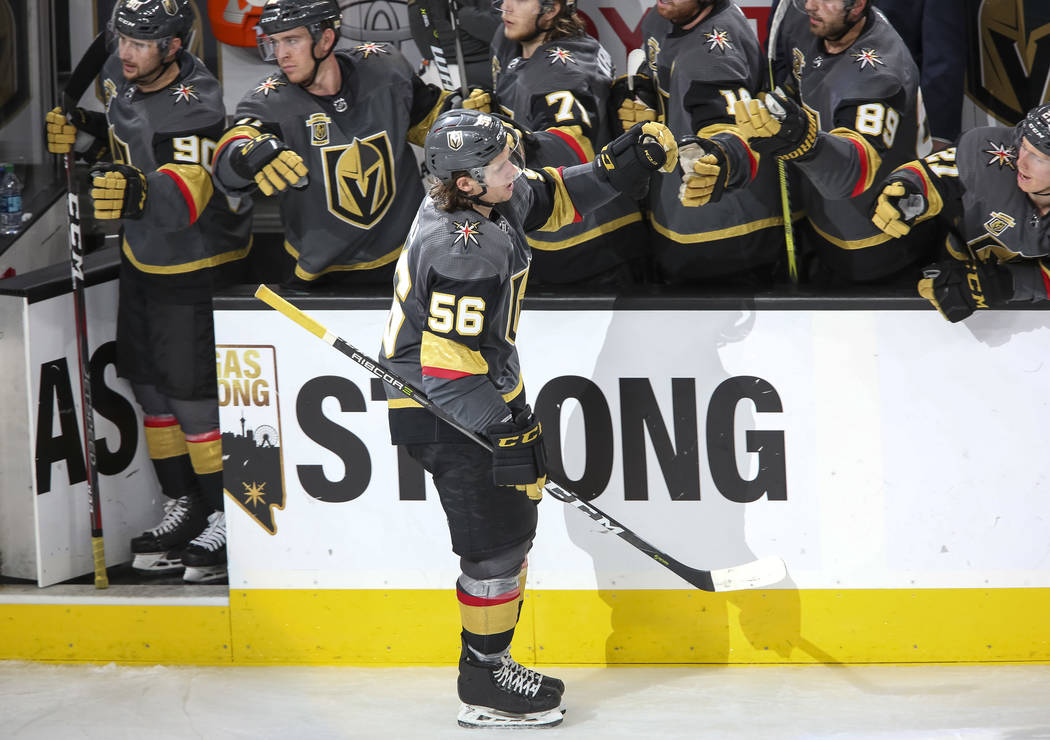 Vegas Golden Knights left wing Erik Haula (56) celebrates his third period goal against Minnesota Wild at the T-Mobile Arena in Las Vegas on Friday, March 16, 2018. Richard Brian Las Vegas Review- ...