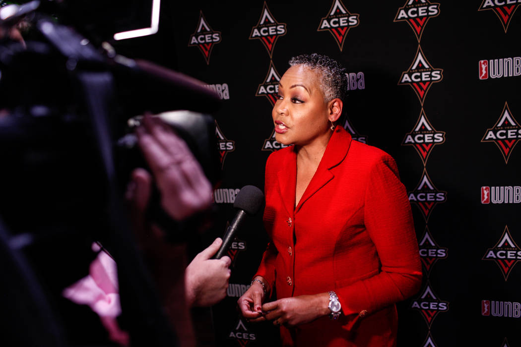 WNBA President Lisa Borders is interviewed after the reveal of the Las Vegas Aces WNBA basketball team at the House of Blues at Mandalay Bay in Las Vegas, Monday, Dec. 11, 2017. Joel Angel Juarez  ...
