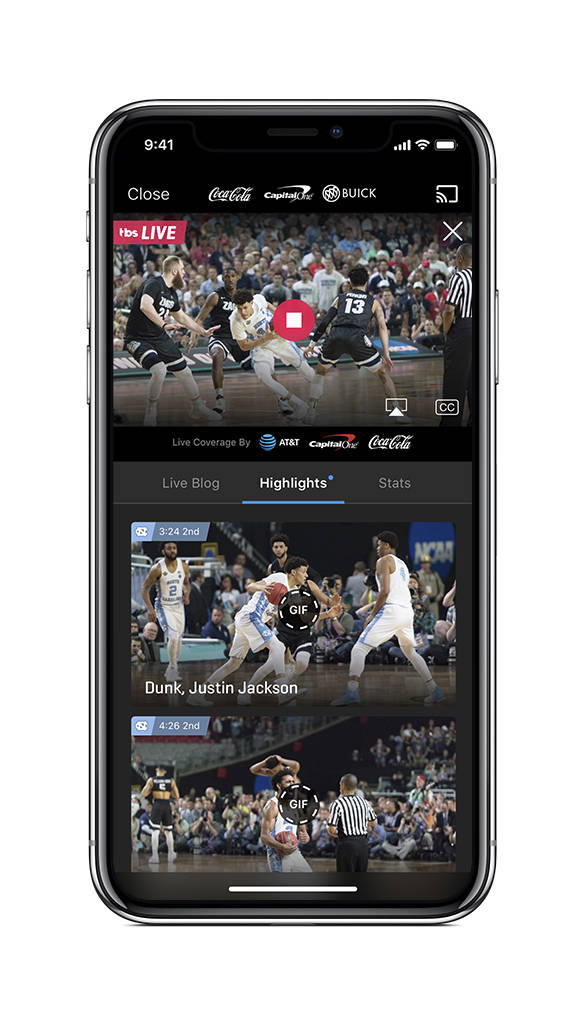 This undated product image provided by Turner Broadcasting System, Inc. shows the NCAA March Madness Live app on an iPhone. The men's college basketball tournament begins Tuesday, March 13, ...