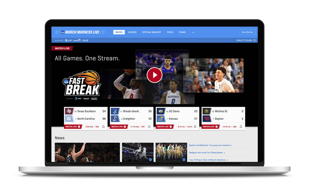 This undated product image provided by Turner Broadcasting System, Inc. shows March Madness Live on a laptop. The men's college basketball tournament begins Tuesday, March 13, 2018. All 67  ...