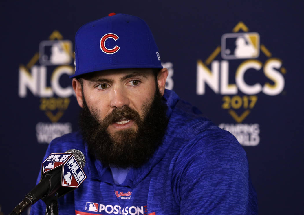 In this Oct. 17, 2017, file photo, Chicago Cubs pitcher Jake Arrieta talks during a news conference before Game 3 of baseball's National League Championship Series against the Los Angeles Dodgers  ...