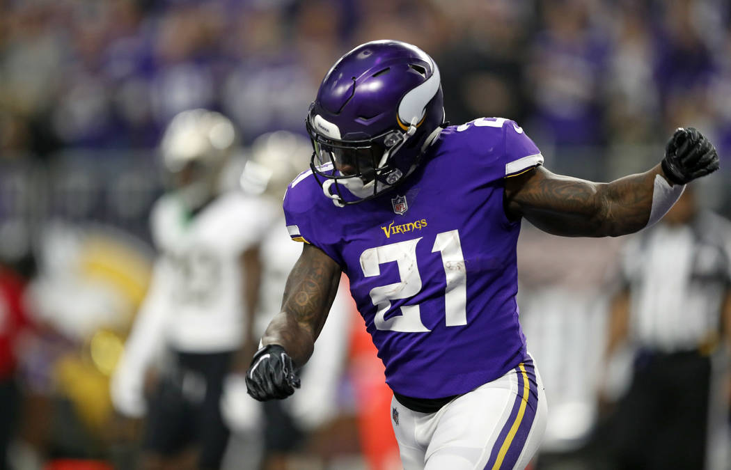 Minnesota Vikings running back Jerick Mc Kinnon celebrates a touchdown against the New Orleans Saints during the first half of an NFL divisional football playoff game in Minneapolis Sunday J