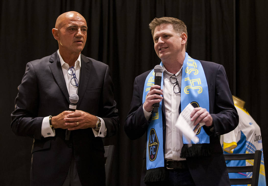 Las Vegas Lights CEO Brett Lashbrook speaks alongside Technical Director Jose Luis Sanchez Sola at the Las Vegas Lights FC season kickoff party at the Plaza in downtown Las Vegas on Wednesday, Mar ...