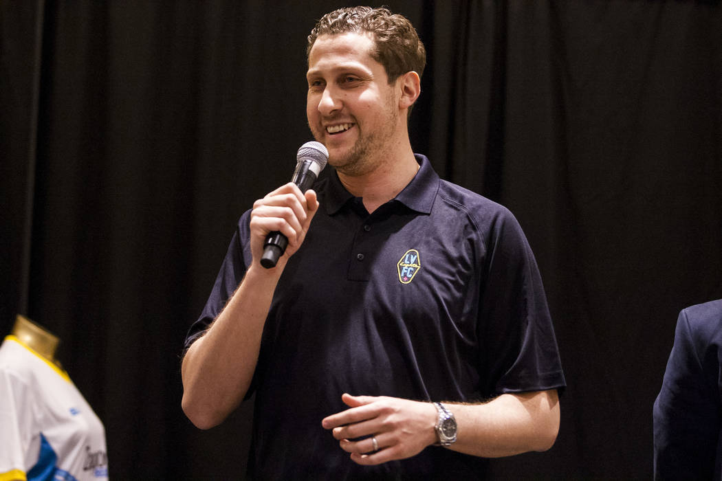 Plaza CEO Jonathan Jossel speaks at the Las Vegas Lights FC season kickoff party at the Plaza in downtown Las Vegas on Wednesday, March 14, 2018.  Patrick Connolly Las Vegas Review-Journal @PConnPie