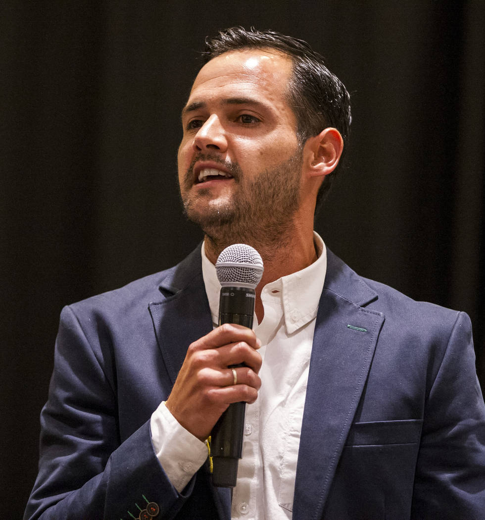 Las Vegas Lights Head Coach Isidro Sanchez speaks at the Las Vegas Lights FC season kickoff party at the Plaza in downtown Las Vegas on Wednesday, March 14, 2018.  Patrick Connolly Las Vegas Revie ...