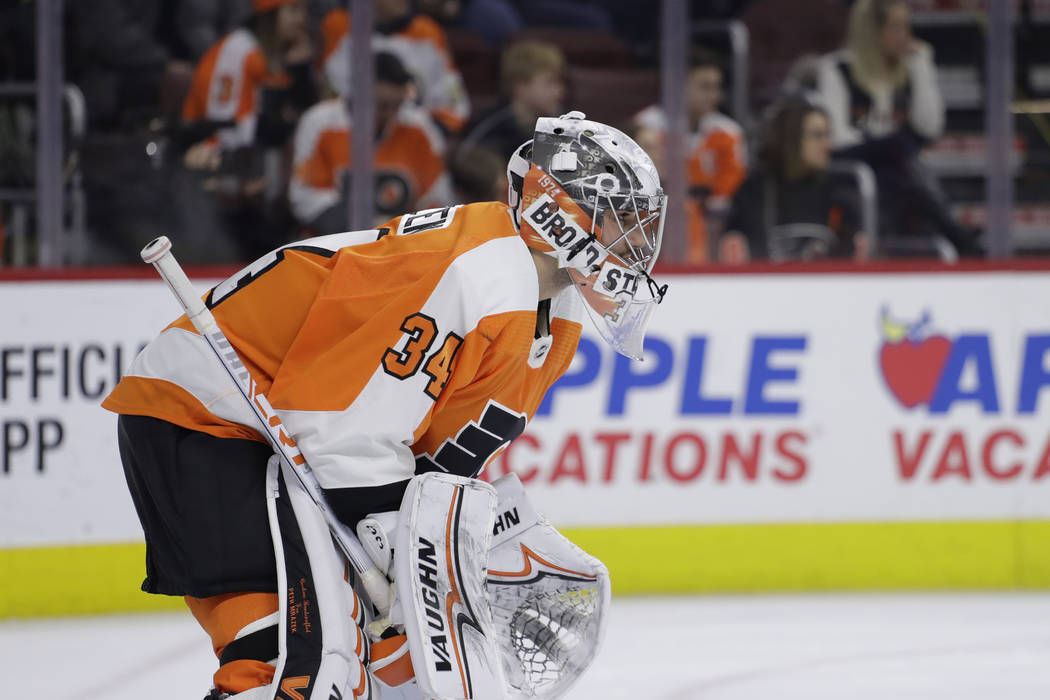Philadelphia Flyers' Petr Mrazek in action during an NHL hockey game against the Vegas Golden Knights, Monday, March 12, 2018, in Philadelphia. (AP Photo/Matt Slocum)