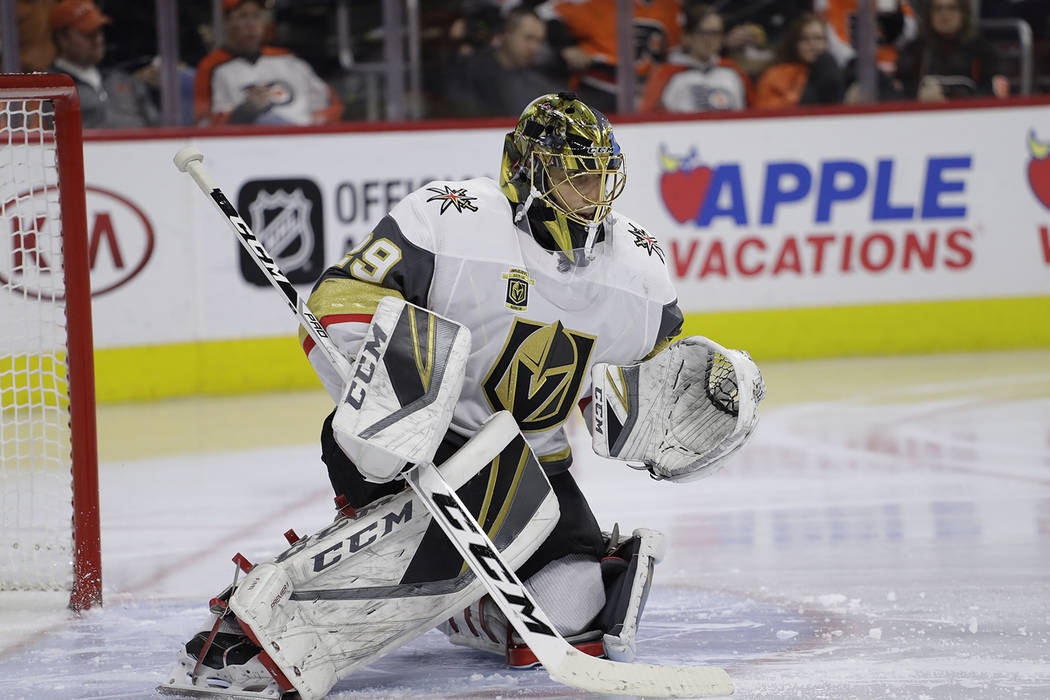 Vegas Golden Knights' Marc-Andre Fleury in action during an NHL hockey game against the Philadelphia Flyers, Monday, March 12, 2018, in Philadelphia. Vegas won 3-2. (AP Photo/Matt Slocum)