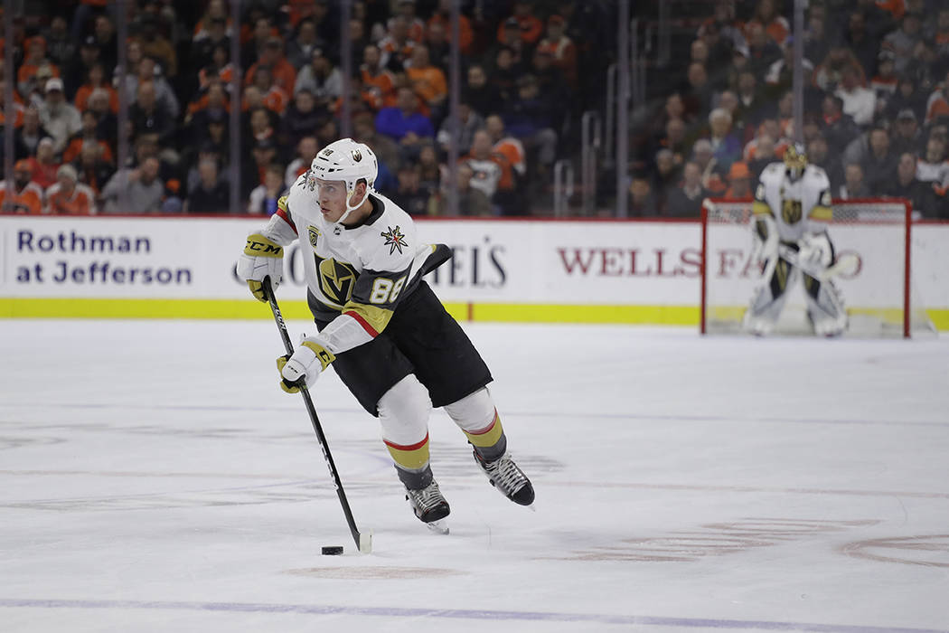 Vegas Golden Knights' Nate Schmidt in action during an NHL hockey game against the Philadelphia Flyers, Monday, March 12, 2018, in Philadelphia. Vegas won 3-2. (AP Photo/Matt Slocum)