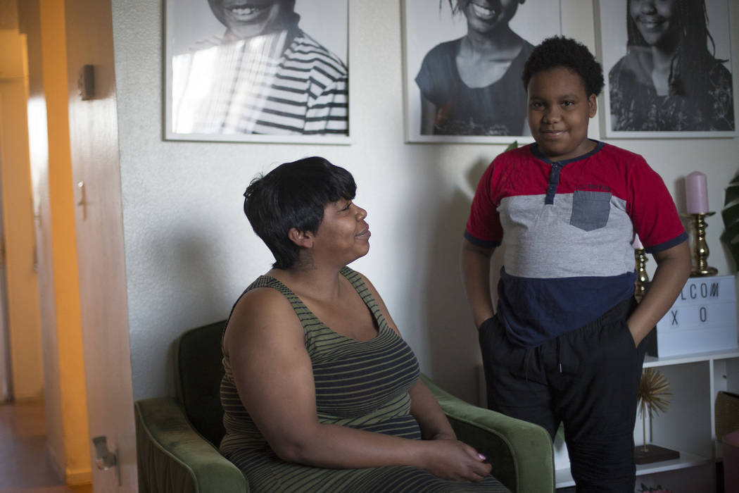 Jacenta Harris, left, and her son Duke Maples, 13, at their home in Las Vegas, Wednesday, March 14, 2018. (Rachel Aston Las Vegas Review-Journal @rookie__rae)