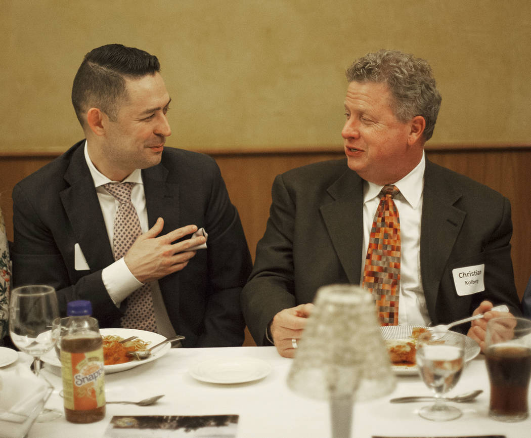 James Stirratt, left, speaks to Christian Kolberg over dinner at the JW Marriot in Las Vegas, Wednesday, March 21, 2018. The Clark County Medical Center hosted a dinner to close out the MiniMed In ...