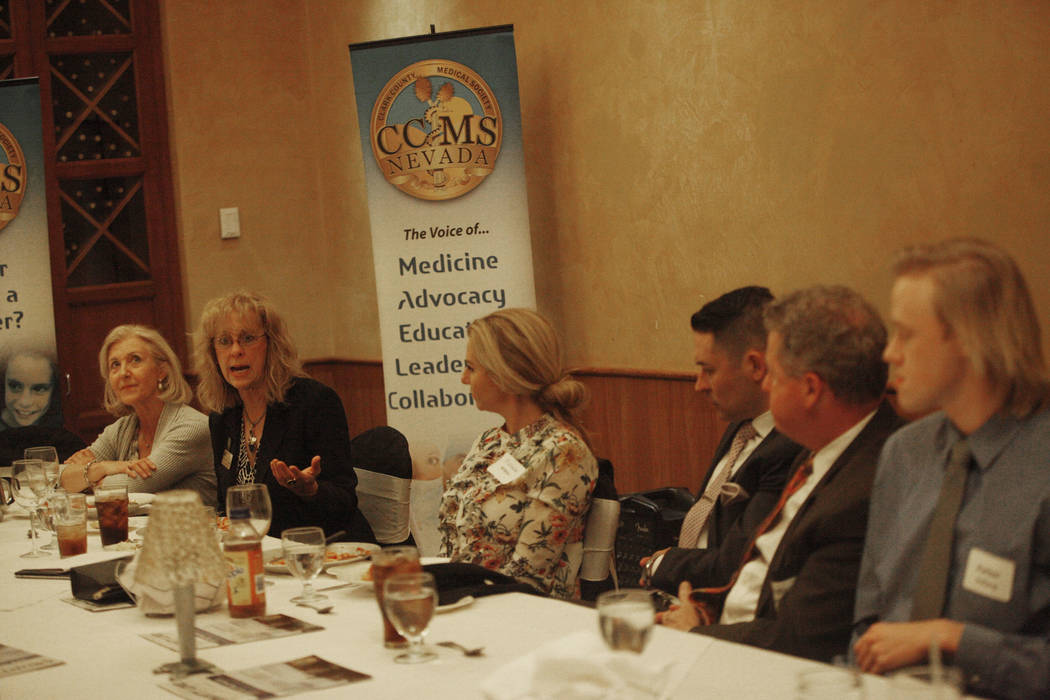 Dr. Valerie Weber speaks about her experience shadowing a doctor over dinner at the JW Marriot in Las Vegas, Wednesday, March 21, 2018. The Clark County Medical Center hosted a dinner to close out ...