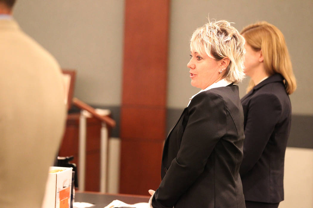 Lisa Ashby, a victim of disbarred Las Vegas lawyer Easton Harris, makes a statement during his sentencing at the Regional Justice Center in Las Vegas on Tuesday, March 13, 2018. Harris was sentenc ...