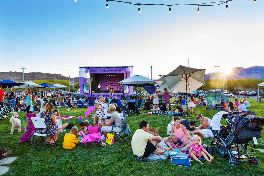 People gather on The Lawn at Downtown Summerlin. A wine walk to benefit New Vista is set for 7-10 p.m March 31 at Downtown Summerlin. (Summerlin)