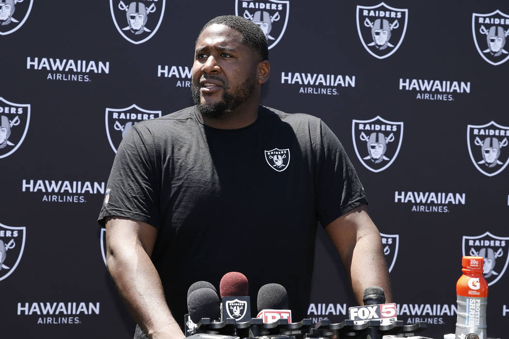 The Oakland Raiders offensive tackle Marshall Newhouse addresses the media after teams practice at Raiders Napa Valley training complex in Napa, Calif., on Sunday, July 30, 2017. Bizuayehu Tesfaye ...