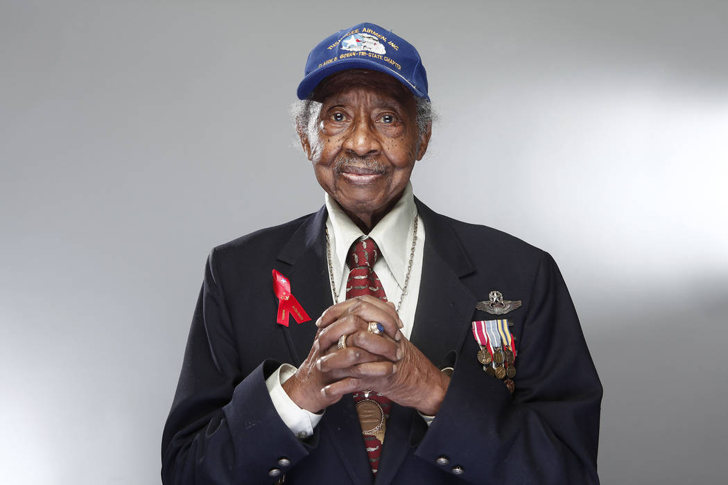 """Tuskegee Airman Floyd Carter Sr. poses for a portrait during a news conference in New York for the film """"Red Tails,"""" chronicling the heroism of the Tuskegee Airmen during WWII, an. 10, 2012. The N ..."""