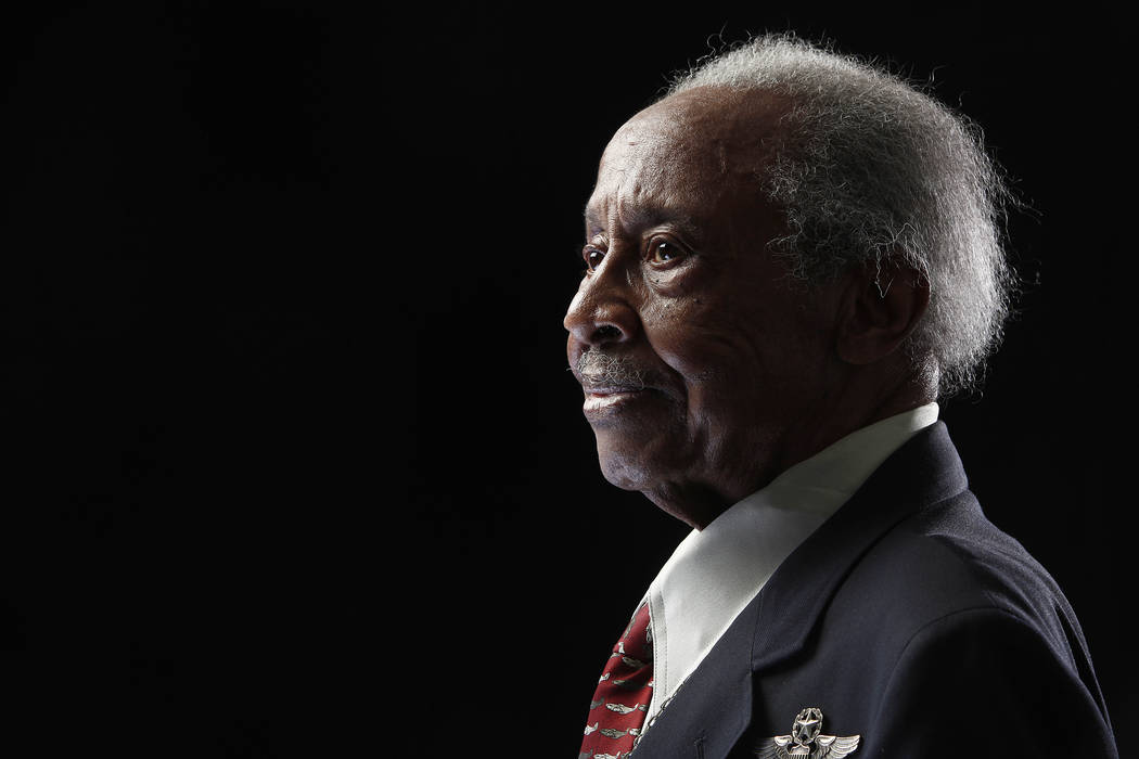 """Tuskegee Airman Floyd Carter Sr. poses for a portrait during a news conference in New York for the film """"Red Tails,"""" chronicling the heroism of the Tuskegee Airmen during WWII, Jan. 10, 2012. The  ..."""