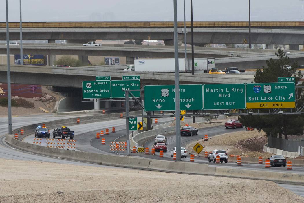 """Traffic moving northbound is directed off of U.S. Highway 95 as part of the """"Main Event"""" segment of Project Neon in downtown Las Vegas on Saturday, March 10, 2018.  (Chase Stevens/Las Vegas Review ..."""