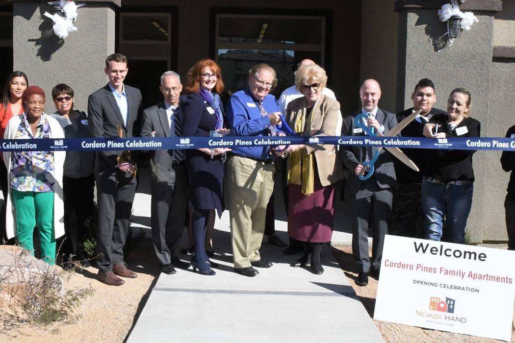 Las Vegas Mayor Carolyn Goodman, center, joins residents, Nevada HAND and housing and financing partners at Cordero Pines, a new affordable apartment complex in northeast Las Vegas. (Nevada HAND)