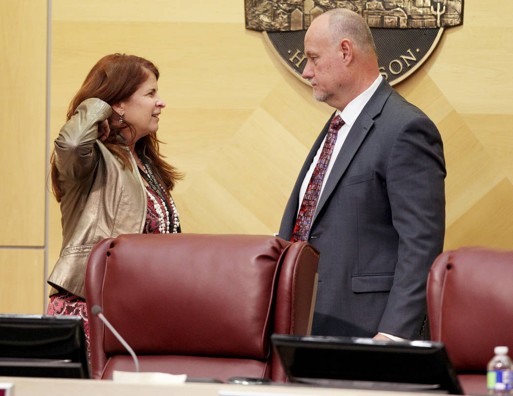 Henderson Mayor Debra March, left, talks to Assistant City Manager Greg Blackburn before a City Council meeting on Jan. 2. (K.M. Cannon Las Vegas Review-Journal @KMCannonPhoto)