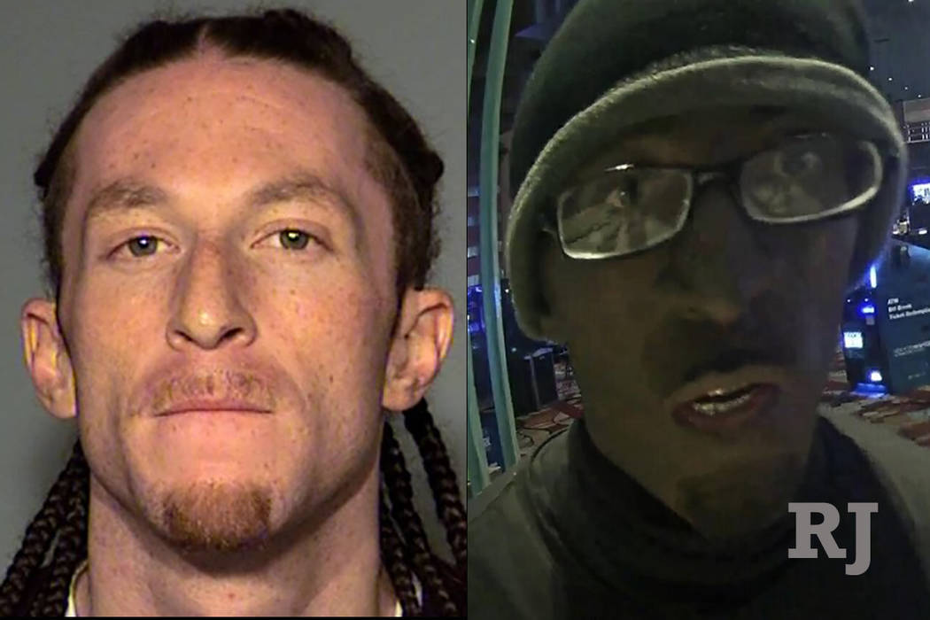 Cameron James Kennedy is charged with robbing at gunpoint a cashier cage at New York-New York on Jan. 10, 2018. Initially he was described as a black male, but police said Kennedy used makeup to a ...