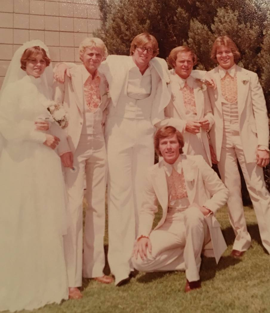 Robert Hunter, third from left, and Lynne Hunter, left, on their wedding day in 1977. (Courtesy of Jenn Moss)