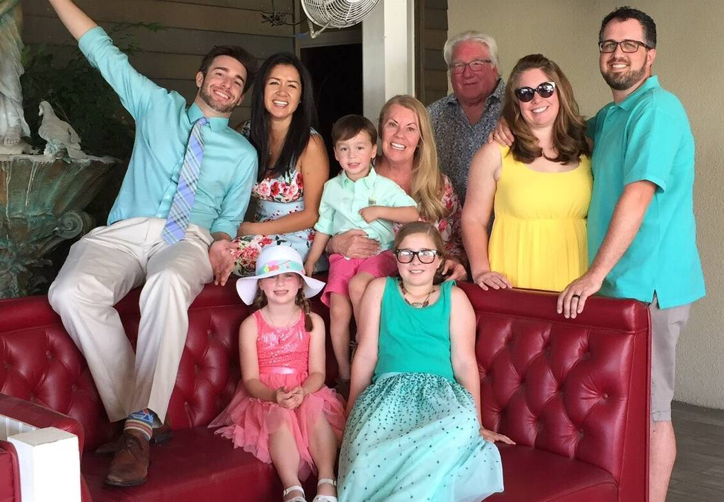 Robert Hunter, third from right, with his wife, children, in-laws and grandchildren on Easter in 2017. (Courtesy of Jenn Moss)