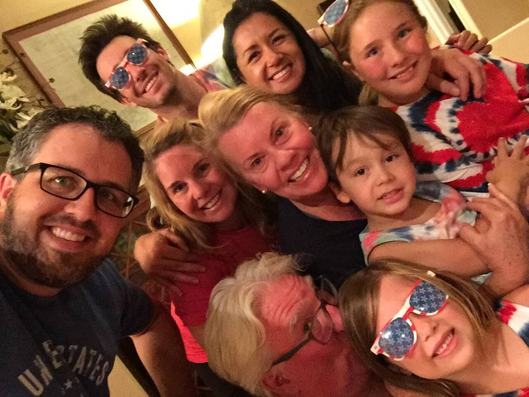 Robert Hunter, bottom, with his wife, children, in-laws and grandchildren on Fourth of July in 2017. (Courtesy of Jenn Moss)