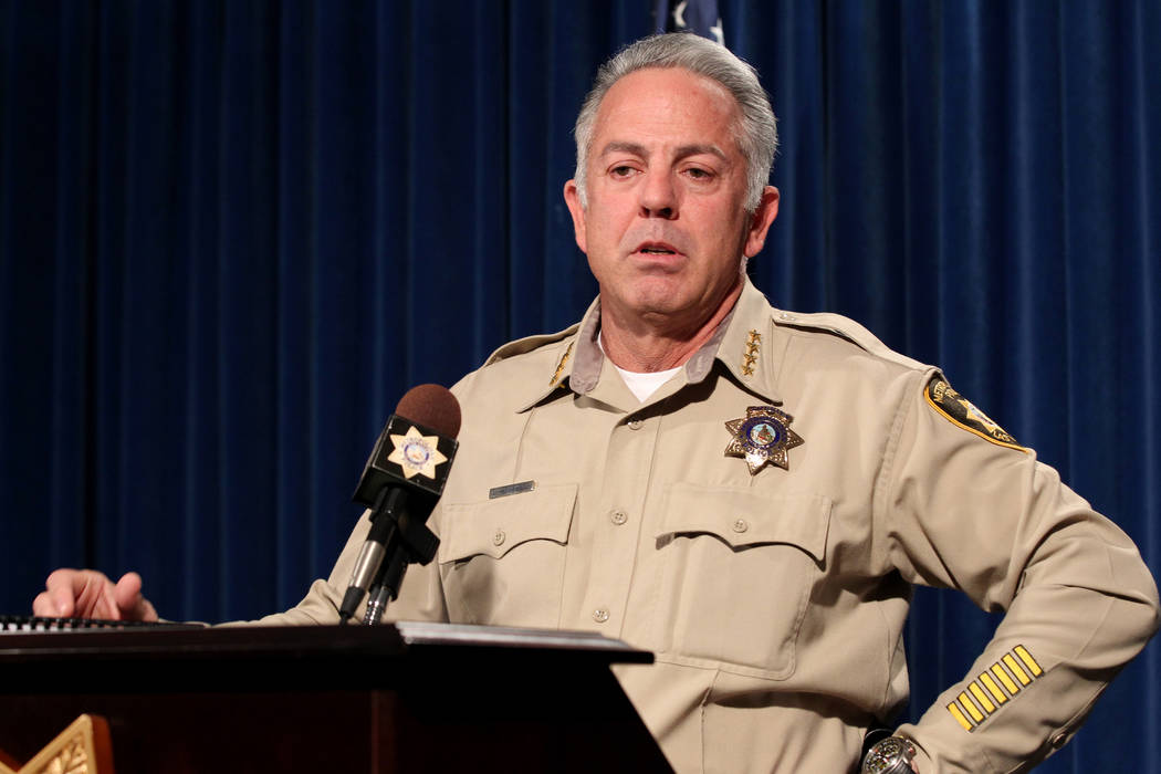Clark County Sheriff Joe Lombardo updates the investigation into the Oct. 1 mass shooting on the Strip during a news conference at Metropolitan Police Department headquarters in Las Vegas on Frida ...