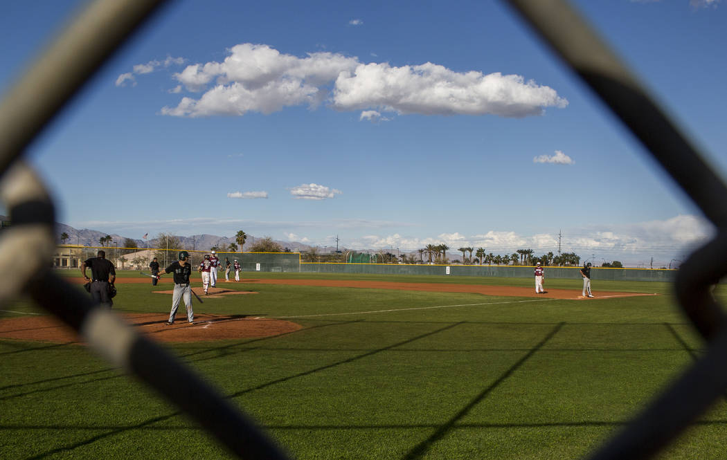 Palo Verde is up to bat while playing against Cimarron-Memorial at Cimarron-Memorial High School on Wednesday, March 14, 2018. Palo Verde won 12-8.  Patrick Connolly Las Vegas Review-Journal @PConnPie